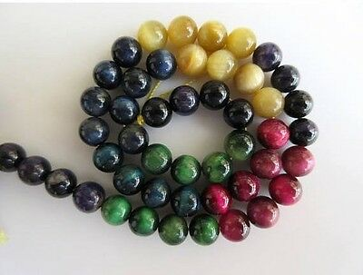 Multi Cats Eye Large Hole Gemstone 8mm Smooth Round Beads 15 Inch Strand GDS565