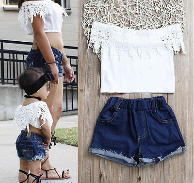UK Stock Toddler Kids Baby Girls Lace Tops Denim Hot Pants Outfits Set Clothes