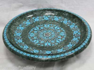 "16"" Marble Fruit Bowl  Inlay Gems Turquoise Handmade Home Decor & Gift"