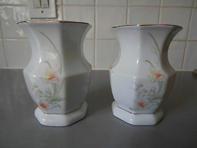 Two Matching Decorative Floral Vases