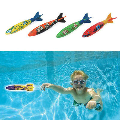 4PCS/Set Underwater Torpedo Rocket Swimming Pool Toy Swim Dive Sticks Games Gift