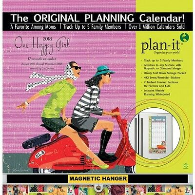 2018 Plan-It Wall Calendar - One Happy Girl (Wells St/Lang) NEW