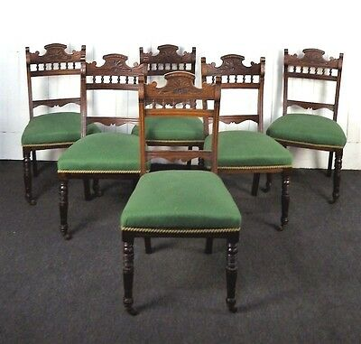 Antique Victorian carved walnut set of 6 dining chairs