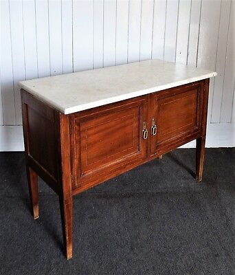 Antique inlaid mahogany marble top millinery cupboard / wash stand
