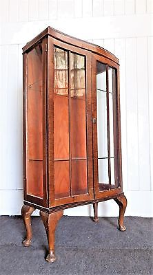 Antique vintage tall narrow glazed display cabinet