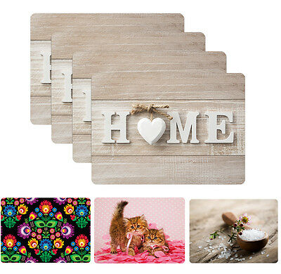 """Set of 4 Placemats Table Place Settings Mats Cork Many Design Shabby 12x16"""" Home"""