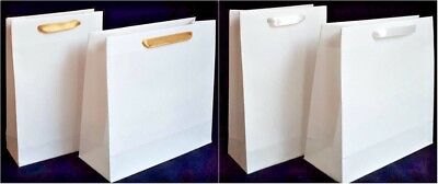 10 White Small Paper Gift Party Bags Wedding Birthday White Gold Satin Handles