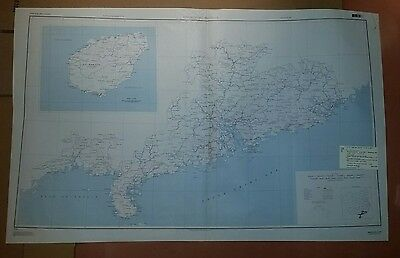 1945 US Army Map - Kwangtung Province, China ww 2 vintage military
