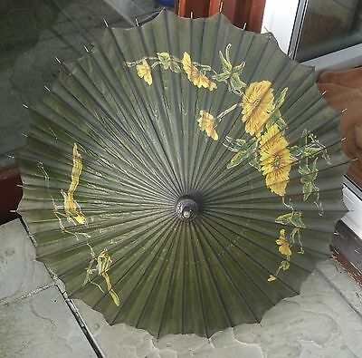 VINTAGE ORIENTAL ASIAN HAND PAINTED PARASOL WITH DECORATED BAMBOO HANDLE C1940's