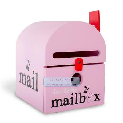 Dear Little Designs Kids Wooden Mailbox Letter Writing Learning Toy Pink
