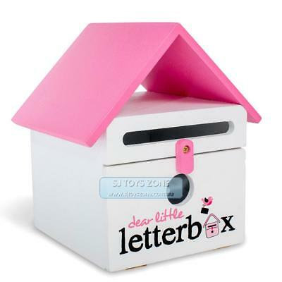 Dear Little Designs Kids Wooden Letterbox Letter Writing Learning Toy Pink