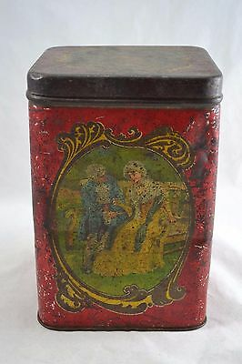 ANTIQUE EDWARDIAN large tea tin with scenes of couples drinking tea