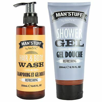 Man'Stuff Refreshing Hair & Body Wash Gift Set Men's Shampoo Shower Gel Cleanser