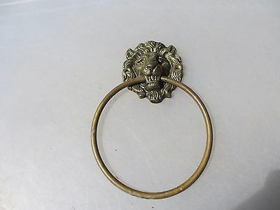 Vintage Brass Lion Head Loop Handle Pull Architectural Antique Old Hardware Tie