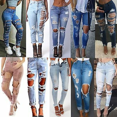 Womens Celeb Ripped Skinny Jeans High Waist Denim Pants Jeggings Frayed Trousers