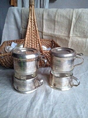 Vintage French Coffee Cups Filter Coffee Brevete Silver Plate 2pc Art Deco RARE