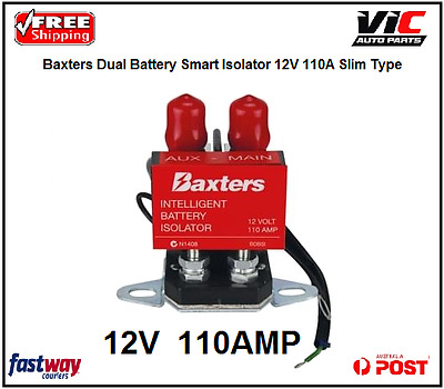Baxters Dual Battery Smart Isolator 12V 110A Slim Type Suit 4WD
