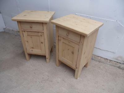 A Cracking Pair of Small Antique Pine Bedside Cabinets to Wax/Paint
