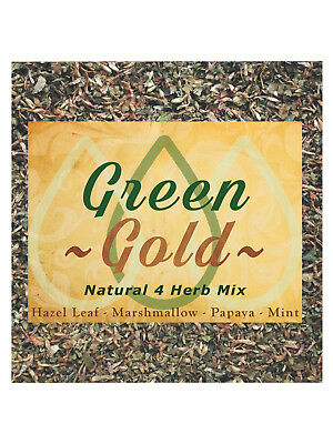 Natural Greengo 4 Herb Mix papaya, hazel leaf 'Green Gold' herbal blend - 25g