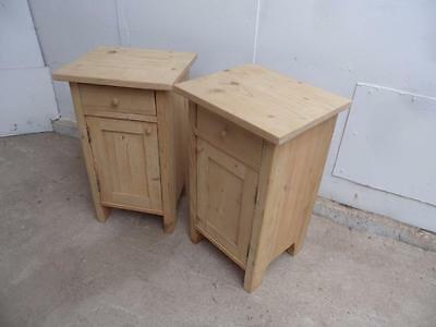 A Quality Pair of Antique Pine Wide Bedside Cabinets to Wax/Paint