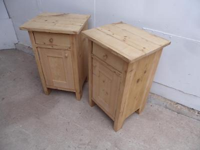 A Lovely Pair of Antique Pine Wide Bedside Cabinets/Sofa Lamp Tablesto Wax/Paint