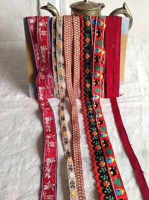 Vintage Tapes, Trims & Braids Red Yellow & Grey French Ribbons Lace 12m / NOS