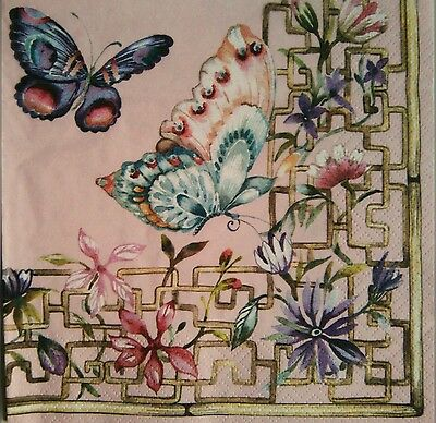 4 Paper Napkins , decoupage.Flower and waterfly.Servilletas decoupage flores