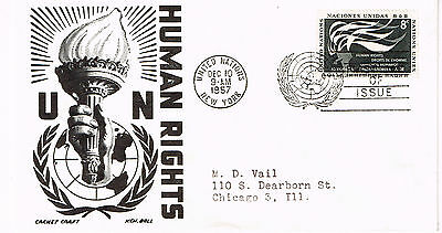 Worldwide Cover Un Cover Fdc 1957 Un Human Rights Addressed Great  8 Cent