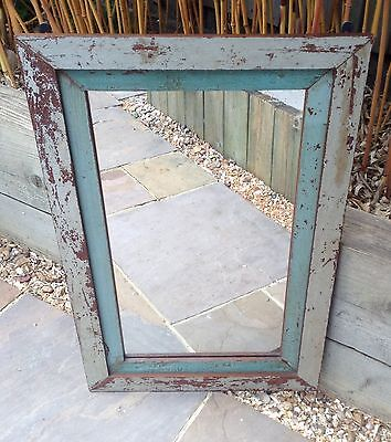 Large Antique Vintage Indian Green and Grey Painted Wooden Panel Mirror
