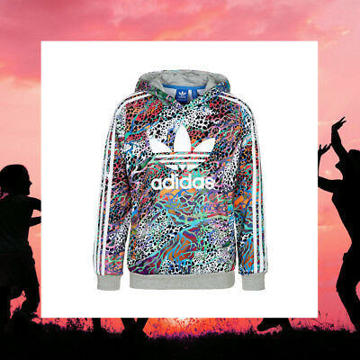 Adidas Originals Youth Girls Teen Multicolour Pattern Animal Print Hoodie S14449