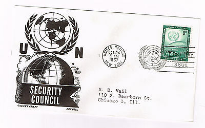 Worldwide Cover Un Cover Fdc 1957 Security Council Addressed Great 8 Cent Stamp