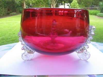 Victorian Stevens & Williams Cranberry Glass Fruit Bowl 3 Curled Armature Feet