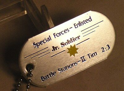 Salvation Army - SPECIAL FORCES - ENLISTED JUNIOR SOLDIER DOG TAG & CHAIN