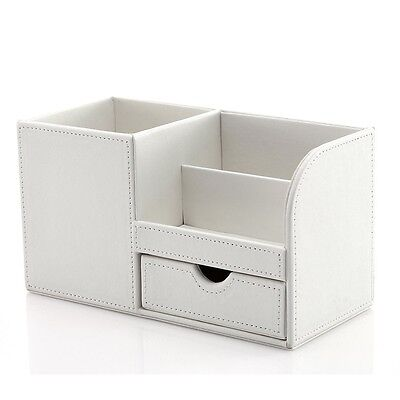 Stationery Organizer Storage Box Wooden Leather Multi-function for Desk White