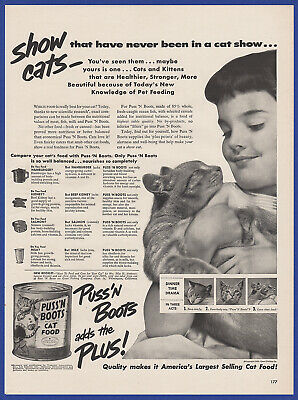 Vintage 1950 PUSS 'N BOOTS Cat Food Pet Print Ad 50's