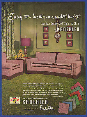 Vintage 1950 KROEHLER Cushionized Sofa and Chair Furniture Print Ad 50's