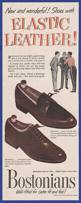 Vintage 1950 BOSTONIANS Men's Shoes Fashion Ardmore Marshall Print Ad 1950's