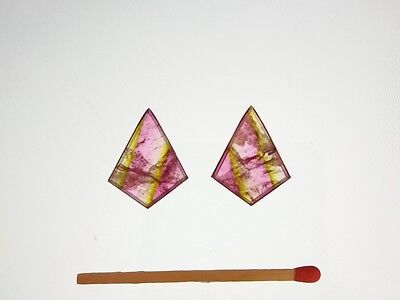 2 Watermelon Tourmaline slices faceted - PAIR