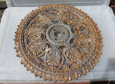 Victorian Cast Iron Ceiling Rose Architectural Antique Old Beading Gilt Leaf 19""