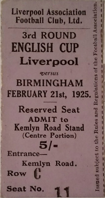 MEGA RARE Liverpool v Birmingham ticket: 1924-1925: FA Cup, at Anfield