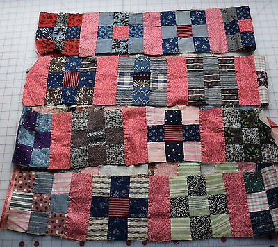 28 1880-1910 small 9 Patch quilt blocks, great prints, extra double pink