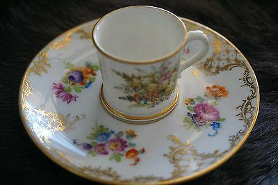 Dresden Hand Painted Porcelain Cup And Saucer Rococco Revival
