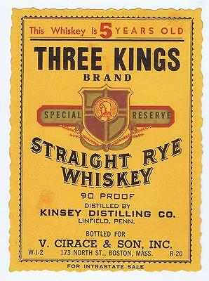 Three Kings whiskey, Kinsey Distilling co Linfield PA Boston antique label #86
