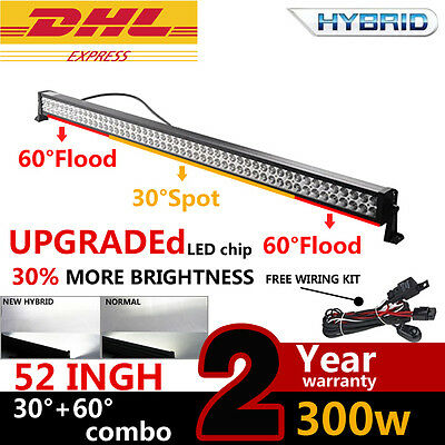 "52"" 300W Flood&Spot LED Work Light Bar Off road Jeep Lamp 180w/120w 28500LM New"