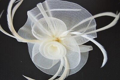 NEW Ivory centre net feather and flower alice headband fascinator wedding prom