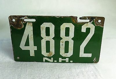 Rare Antique New Hampshire First Issue Enamel License Plate 4882 N.H. Circa 1910