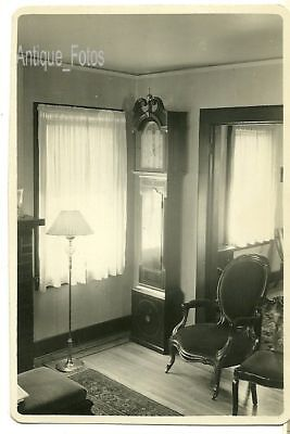 Vintage Old Photo 1790 Grandfather Clock Chairs Lamp +