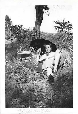 """Vintage Old 1940's Photo Woman in Fields with Umbrella and Big RADIO """"The Life"""""""
