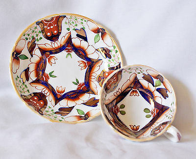 Gorgeous Antique Gaudy Welsh Oriental Pattern Duo Cup & Saucer #1