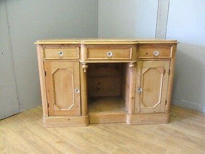 Antique Pine Victorian Vanity Unit/ Dressing table With Glass Handles